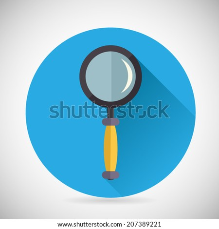 Search Symbol Magnifying Glass Loupe Icon with long shadow on Stylish Background Modern Flat Design Vector Illustration - stock vector