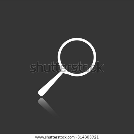 search vector icon with mirror reflection - stock vector