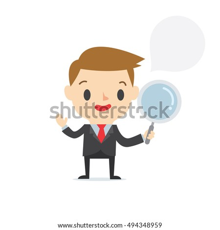 Searching business marketing boy on white background