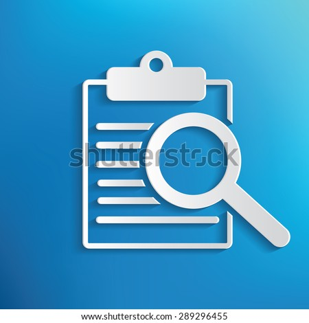 Searching document symbol on blue background,clean vector