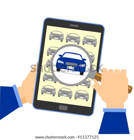 Searching for a decent and good value car using tablet computer. Human hand holding mobile phone searching for car online. Car search concept