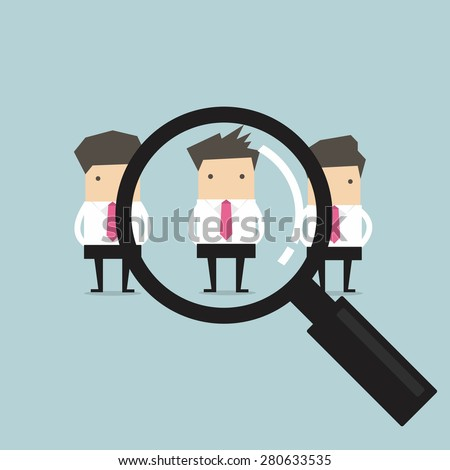 Searching for the best candidate businessman recruit concept - stock vector