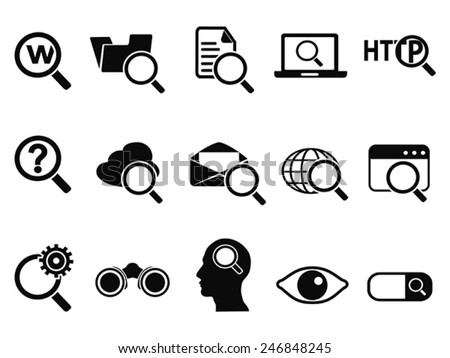 searching icons set - stock vector