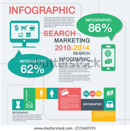 searching Infograph - stock vector