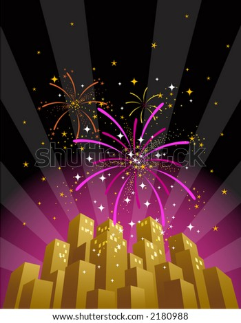 Searchlights and fireworks exploding over a city at night (vertical format). See portfolio for more variations and large JPG formats also. - stock vector