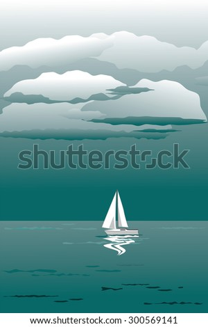 seascape and a white sail yacht