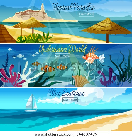 Seascape horizontal banner set with underwater world elements isolated vector illustration - stock vector