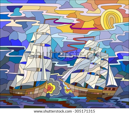 Seascape in the stained glass style battle with two sailboats in the sky and orange sunset - stock vector