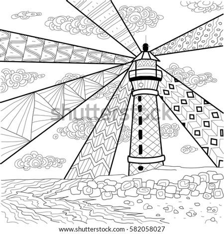 Seascape Line Art Design Coloring Book Stock Vector 582058027 ...