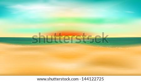Seascape. Sunset on the sea - stock vector