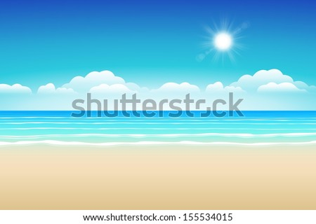 Seascape vector illustration. Paradise beach.