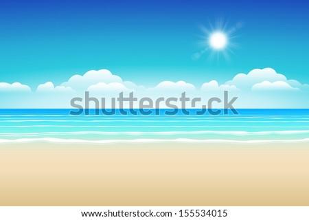 Seascape vector illustration. Paradise beach. - stock vector