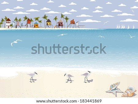 Seascape with beach bungalows on island - stock vector