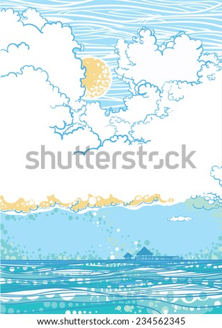 Seascape with clouds, shiny day. Vector - stock vector