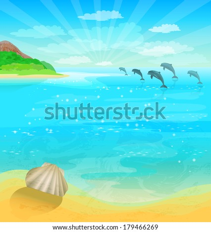 Seascape with dolphins and sea shell - stock vector