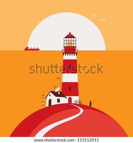 seascape with lighthouse and ship - stock vector