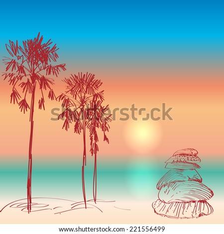 Seascape with palm trees and seashells sunset on the beach. vector - stock vector