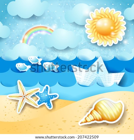 Seascape with sun, seashells and paper boat. Vector eps 10 - stock vector