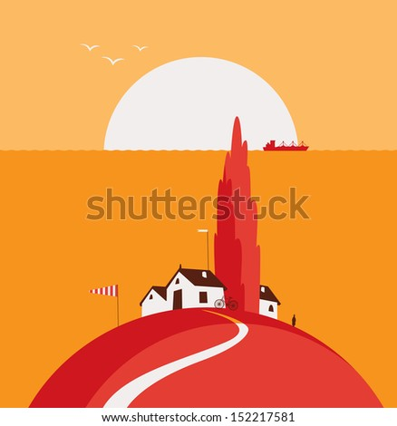 seascape with the village on the banks of the fall - stock vector