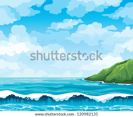 Seascape with waves and green island on a blue cloudy sky background - stock vector