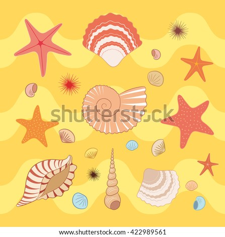 Seashell and starfish pattern