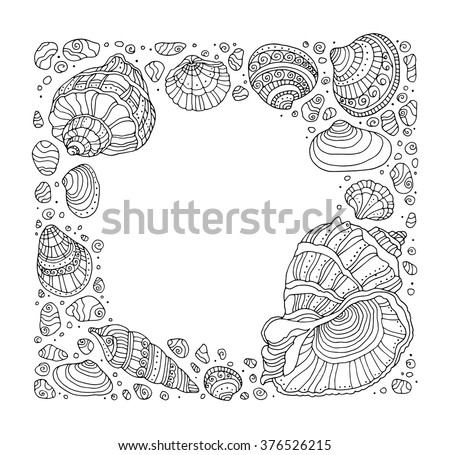 Seashell border frame, ocean pattern. Vector vintage illustration. Zentangle. Coloring book page for adult. Hand drawn artwork. Beach concept for restaurant menu card, ticket, branding, logo label - stock vector