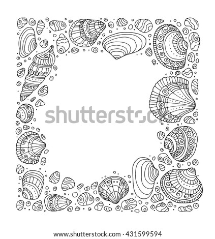 seashell border frame ocean shell pattern vector vintage illustration zentangle coloring book - Zentangle Coloring Book