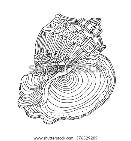 Seashell isolated on white. Vector illustration. Zentangle. Coloring book page for adult. Hand drawn artwork. Beach concept for restaurant menu card, ticket, branding, logo label. Black and white