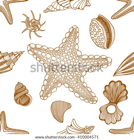 Seashells and starfish seamless pattern vector illustration