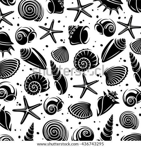 Seashells background. Vector - stock vector