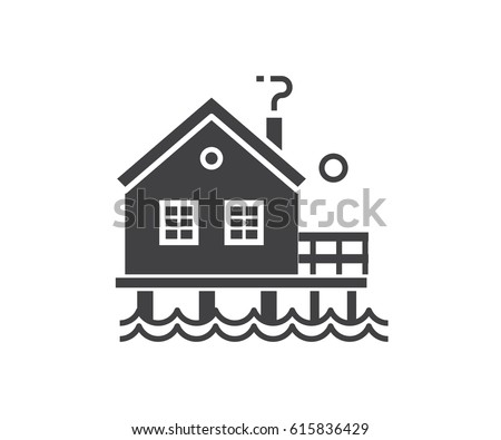 Seaside Stilt House Icon In Outline Design Beach Bungalow Logotype Silhouette Vector Illustration Wooden
