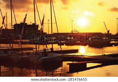 Seaside view poster. Vector background. Sailing yacht boats on ocean water at sunset.  Can be used for summer background, banners, posters and web page - stock vector