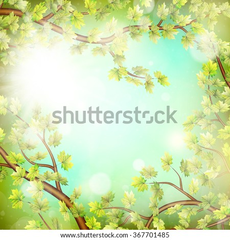 Season branches with fresh green leaves. EPS 10 vector file included - stock vector