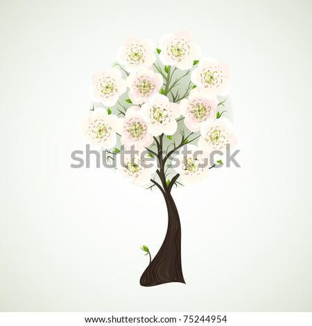 Season flowering tree with light  flowers - stock vector