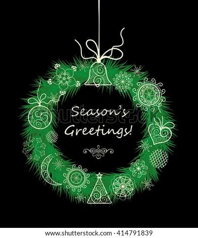 Season greetings with xmas hanging decorative wreath - stock vector