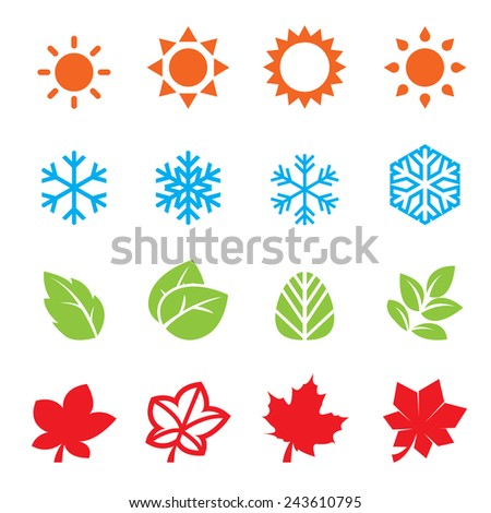season icon set - stock vector