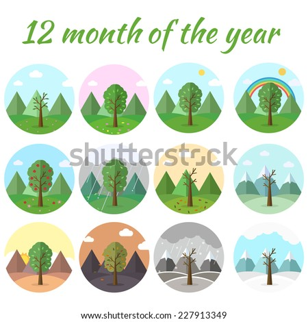 season icon set of nature tree background. Tamplate for web and mobile design concept - stock vector