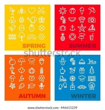 season icons - spring, summer, autumn, winter - stock vector