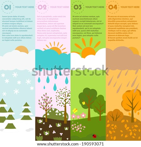 Season infographic template - easy to edit vector file, objects are grouped  - stock vector