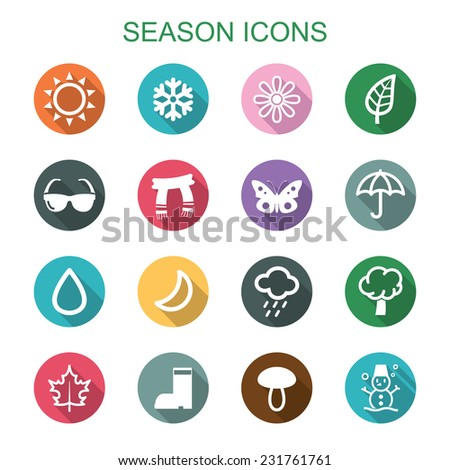 season long shadow icons, flat vector symbols - stock vector