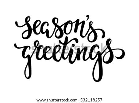 Seasons Greetings Hand Drawn Creative Calligraphy Vector – Holiday or Seasons Greetings Invitation Cards