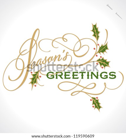 SEASON'S GREETINGS hand lettering, vector (eps8) - stock vector