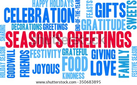 Season's Greetings word cloud on a white background.