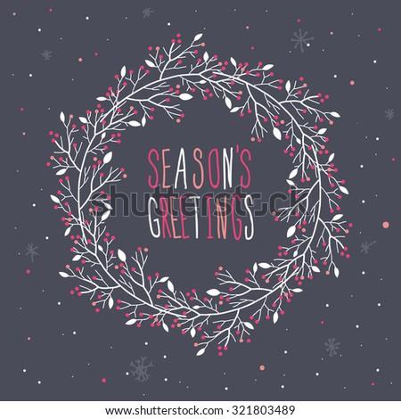 Season's greetings Wreath Print Design - stock vector