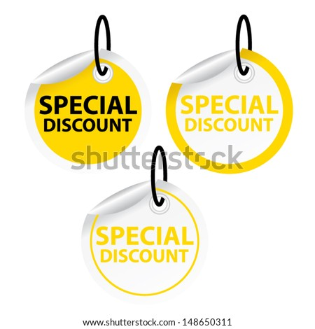 Season Sale Sticker or Label Present By Special discount on yellow tags Isolated on White Background  - stock vector