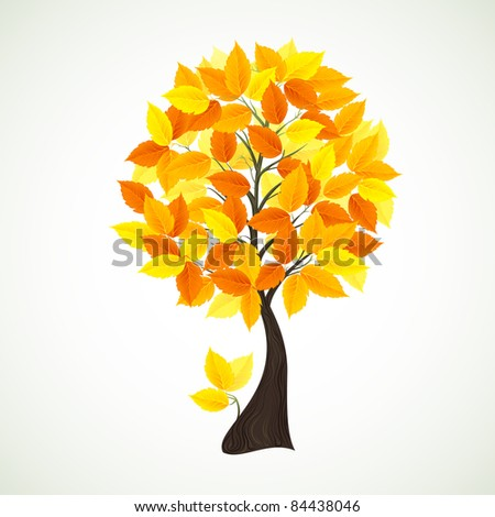 Season tree with yellow leaves - stock vector