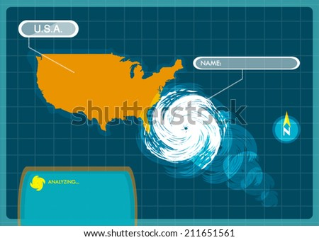 Seasonal Atlantic Tropical Hurricane moving to the USA.  - stock vector