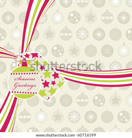 seasonal background with pink and green christmas ribbon and decorations - stock vector