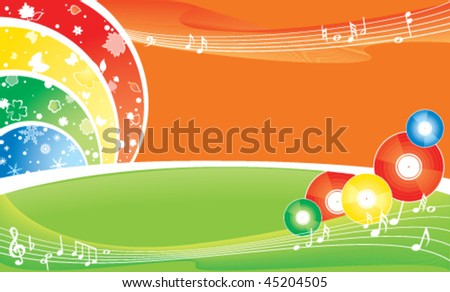 seasonal brightness multicolour background - music all the year round - stock vector