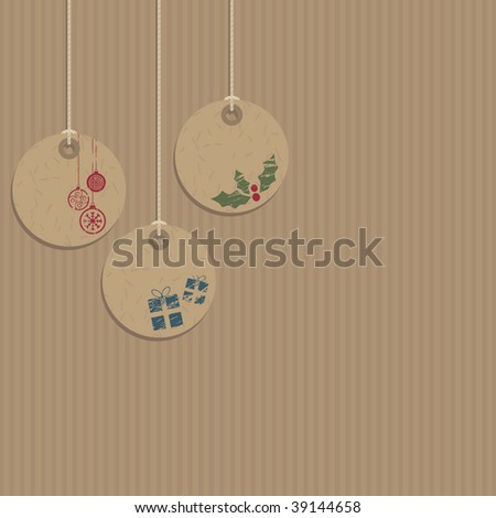 seasonal brown paper decorative tags - stock vector
